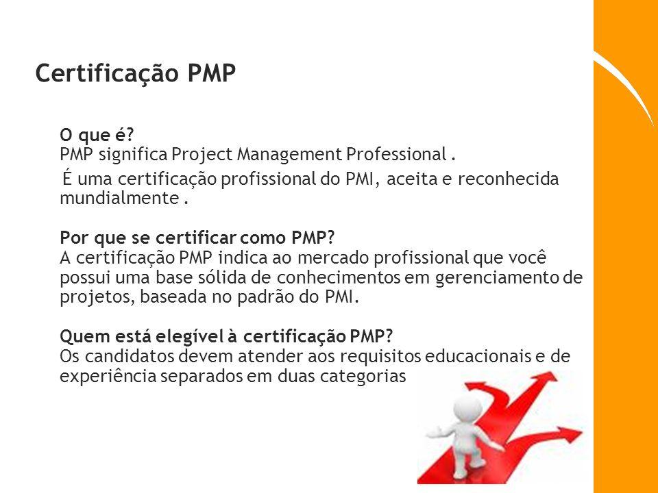 Certificação PMP O que é? PMP significa Project Management Professional. É uma certificação profissional do PMI, aceita e reconhecida mundialmente. Po