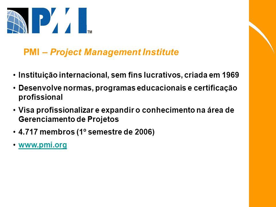 Instituição internacional, sem fins lucrativos, criada em 1969 Desenvolve normas, programas educacionais e certificação profissional Visa profissional