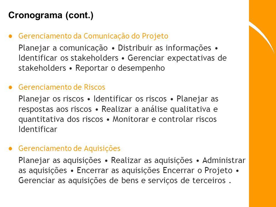 Cronograma (cont.) Gerenciamento da Comunicação do Projeto Planejar a comunicação Distribuir as informações Identificar os stakeholders Gerenciar expe