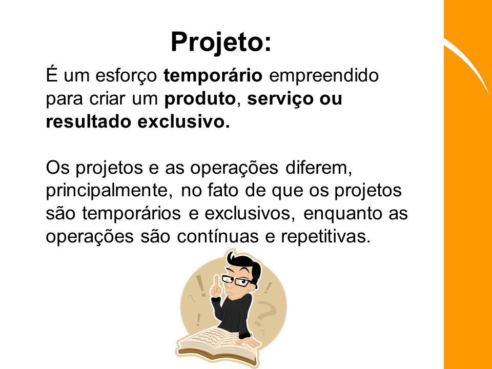 Projeto: É um esforço temporário empreendido para criar um produto, serviço ou resultado exclusivo. Os projetos e as operações diferem, principalmente