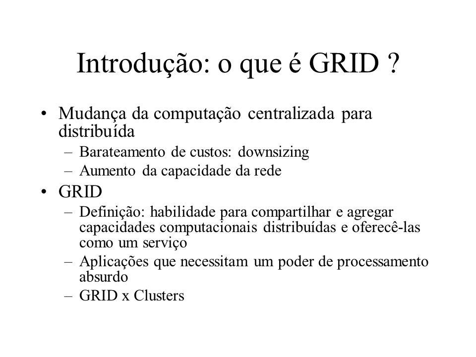 Introdução: o que é GRID ? Mudança da computação centralizada para distribuída –Barateamento de custos: downsizing –Aumento da capacidade da rede GRID
