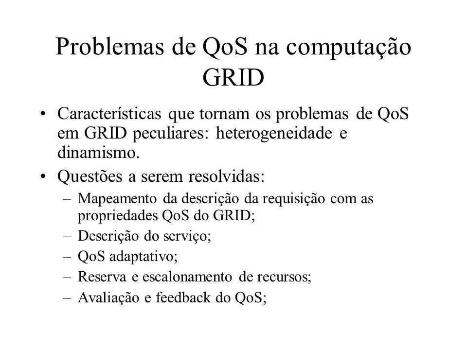 Problemas de QoS na computação GRID Características que tornam os problemas de QoS em GRID peculiares: heterogeneidade e dinamismo. Questões a serem r