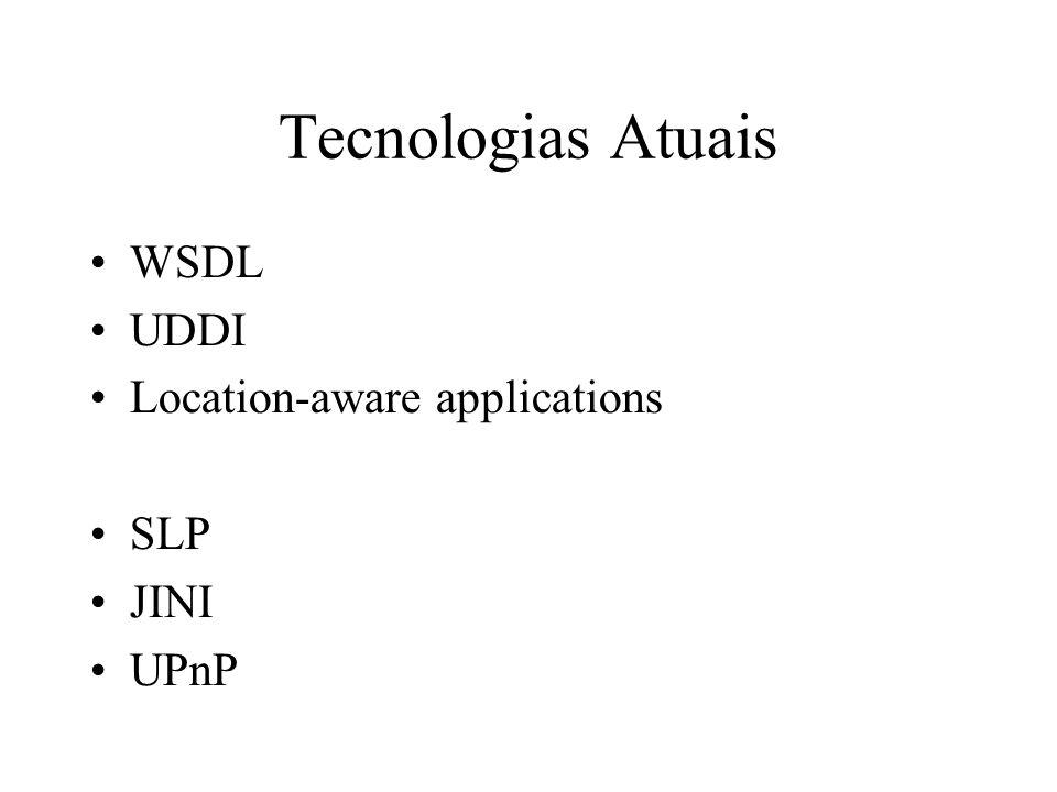 SLP (Service Location Protocol) Concentra-se no problema do descobrimento de serviços Padrão independente (IETF) Baseado TCP/IP Componentes principais: UAs, SAs, DAs.