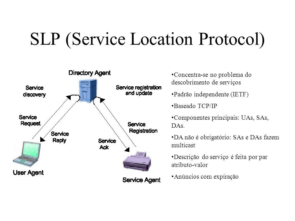 JINI 1: serviço descobre Lookup Server (LUS) 2: serviço envia proxy para o LUS 3: cliente descobre LUS 4: cliente envia requisição para o LUS por serviços disponíveis 5: LUS envia proxy do serviço para o cliente 6: cliente interage com o serviço diretamente Depende da existência do LUS Dependente de plataforma: JAVA Mobilidade de código