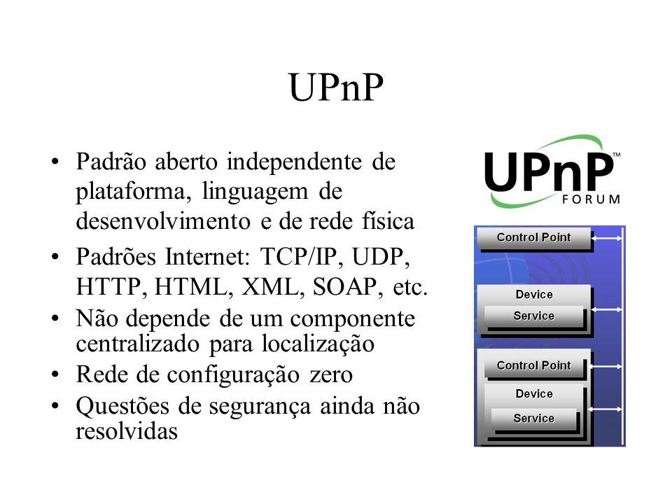 UPnP (continuação) 0 Addressing 1 Discovery 2 Description 5 Presentation 4 Eventing 3 Control 0: Control Point´s e Device´s obtém endereços IP 1: Control Point descobre Device´s de seu interesse 2: Control Point aprende sobre as capacidades dos Device´s 3: Control Point invoca ações no Device 4: Control Point escutam mudança de estados nos Device´s 5: Control Point controla Device e/ou estados do Device usando interfaces HTML