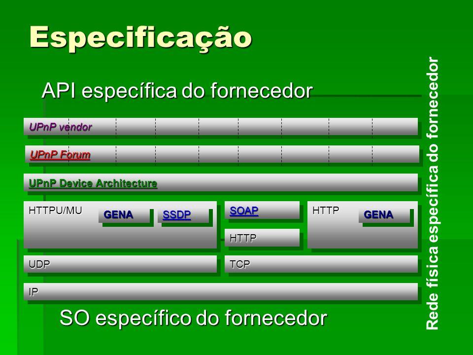 Especificação API específica do fornecedor SO específico do fornecedor Rede física específica do fornecedor UPnP Device Architecture UDPUDP IPIP HTTPU/MUHTTPU/MU GENAGENASSDPSSDP SOAPSOAP HTTPHTTP HTTPHTTP GENAGENA TCPTCP UPnP Forum UPnP vendor