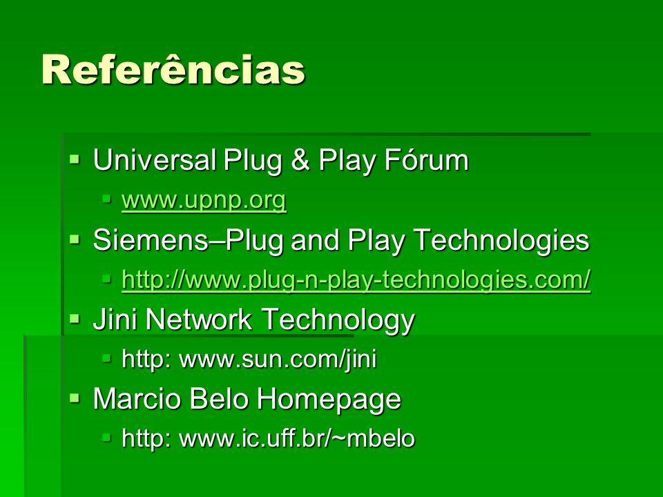 Referências Universal Plug & Play Fórum Universal Plug & Play Fórum www.upnp.org www.upnp.org www.upnp.org Siemens–Plug and Play Technologies Siemens–Plug and Play Technologies http://www.plug-n-play-technologies.com/ http://www.plug-n-play-technologies.com/ http://www.plug-n-play-technologies.com/ Jini Network Technology Jini Network Technology http: www.sun.com/jini http: www.sun.com/jini Marcio Belo Homepage Marcio Belo Homepage http: www.ic.uff.br/~mbelo http: www.ic.uff.br/~mbelo