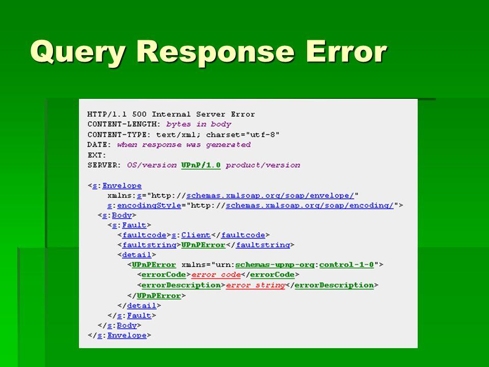Query Response Error