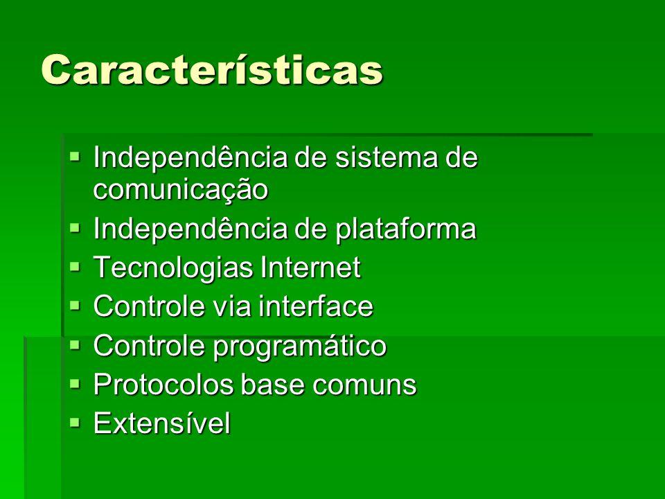 Características Independência de sistema de comunicação Independência de sistema de comunicação Independência de plataforma Independência de plataforma Tecnologias Internet Tecnologias Internet Controle via interface Controle via interface Controle programático Controle programático Protocolos base comuns Protocolos base comuns Extensível Extensível