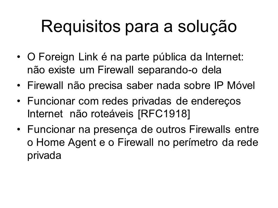 Atravessando Firewalls usando SKIP (1) Já é um RFC, ou seja, implementado Consideraremos: –Firewall deve implementar SKIP –Mobile Node possui a chave pública do Firewall e vice-versa –Firewall e nodo móvel devem implementar algoritmos de autenticação e encriptação –Mobile Node deve ser capaz de reconhecer se está dentro da rede privada –Home Agent também deve saber se está recebendo uma requisição de dentro da rede privada ou de fora