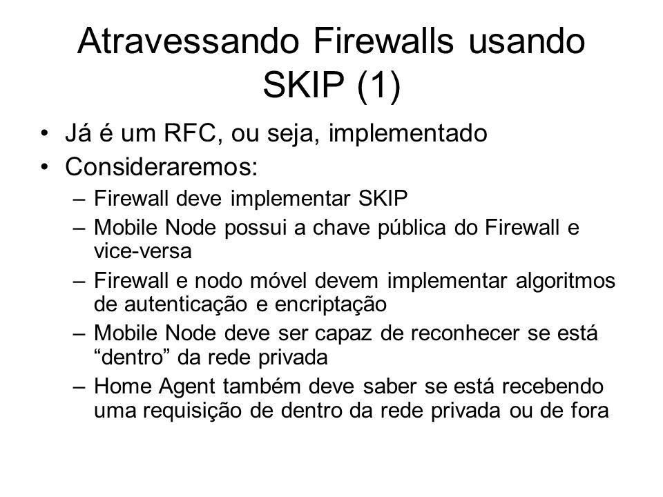 Atravessando Firewalls usando SKIP (2) Procedimento de registro: –Mobile Node conecta a um Foreign Link e obtém um IP –MN determina se está fora ou dentro de sua rede privada.