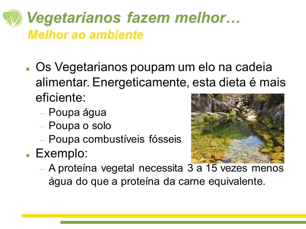 Vegetarianos fazem melhor… Os Vegetarianos poupam um elo na cadeia alimentar. Energeticamente, esta dieta é mais eficiente: Poupa água Poupa o solo Po