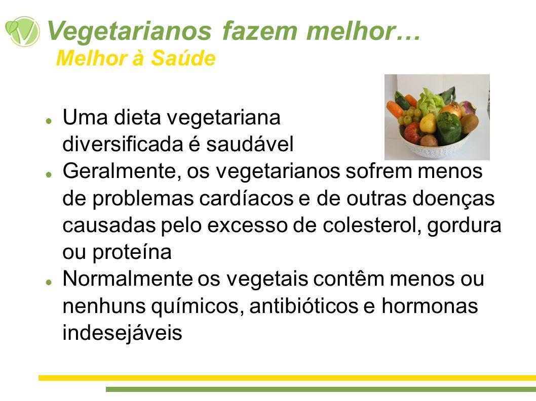 Uma dieta vegetariana diversificada é saudável Geralmente, os vegetarianos sofrem menos de problemas cardíacos e de outras doenças causadas pelo exces