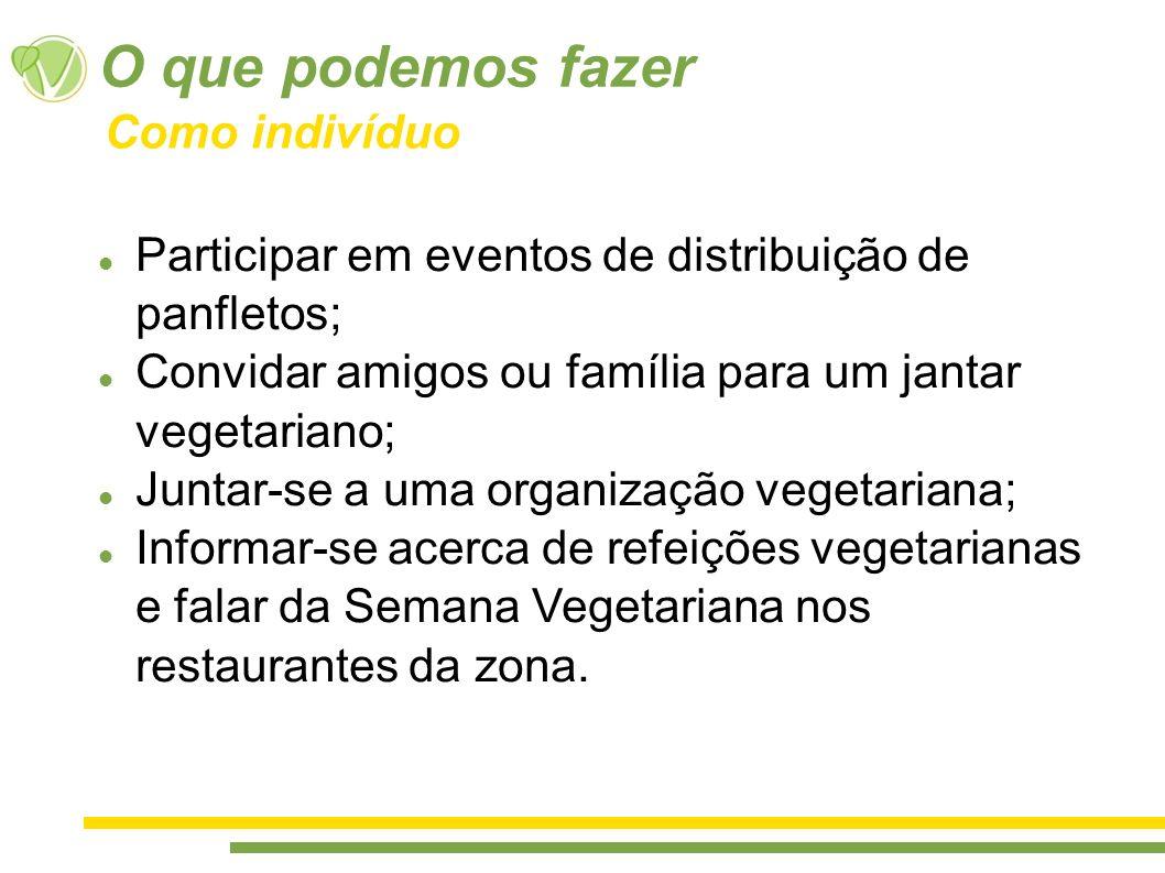O que podemos fazer Participar em eventos de distribuição de panfletos; Convidar amigos ou família para um jantar vegetariano; Juntar-se a uma organiz