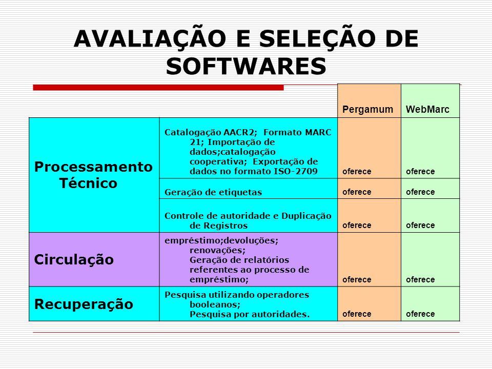 AVALIAÇÃO E SELEÇÃO DE SOFTWARES PergamumWebMarc Processamento Técnico Catalogação AACR2; Formato MARC 21; Importação de dados;catalogação cooperativa