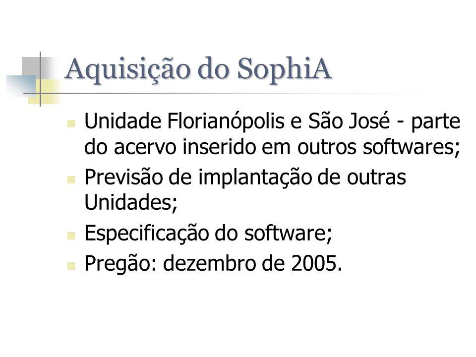 Aquisição do SophiA Unidade Florianópolis e São José - parte do acervo inserido em outros softwares; Previsão de implantação de outras Unidades; Espec