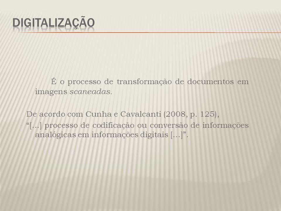 É o processo de transformação de documentos em imagens scaneadas. De acordo com Cunha e Cavalcanti (2008, p. 125), [...] processo de codificação ou co