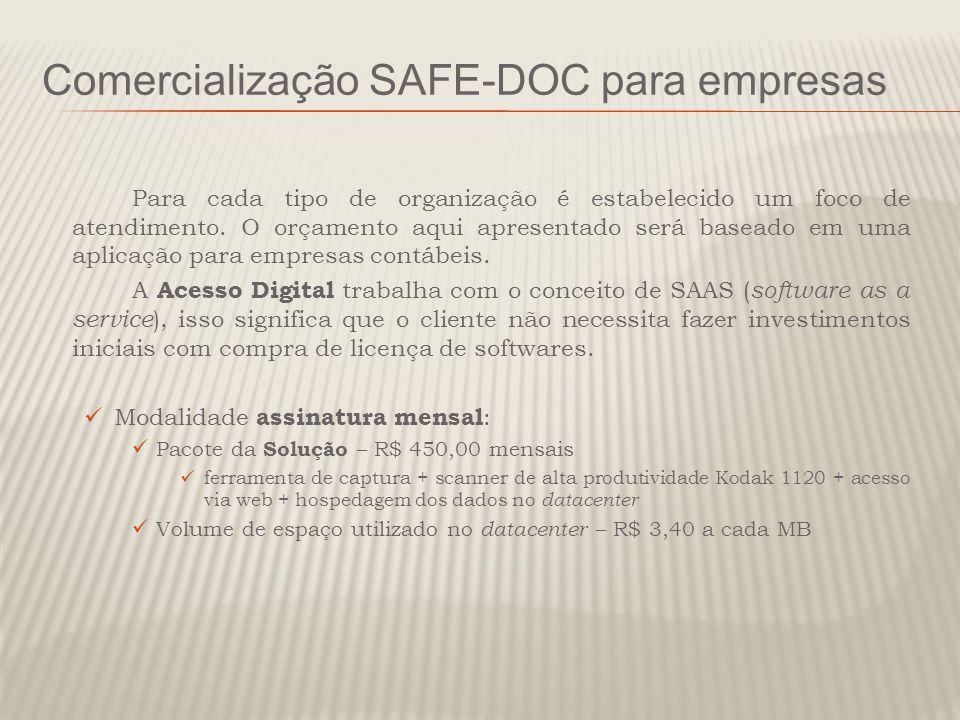 Comercialização SAFE-DOC para empresas Para cada tipo de organização é estabelecido um foco de atendimento. O orçamento aqui apresentado será baseado