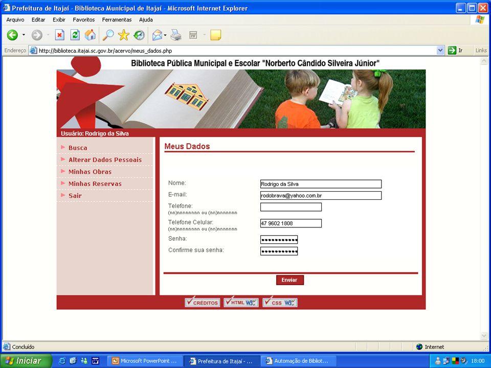 Processamento Técnico Campos e códigos de catalogação AACR2, segundo nível, para todo tipo de documento; Campos e códigos de catalogação AACR2, segundo nível, para todo tipo de documento; Entrada de dados on-line; Entrada de dados on-line; Formato MARC 21 dos registros bibliográficos para exportação, importação e registros internos; Formato MARC 21 dos registros bibliográficos para exportação, importação e registros internos; Importação de dados de centros de catalogação cooperativa on-line e CD-ROM via formato ISO-2709; Importação de dados de centros de catalogação cooperativa on-line e CD-ROM via formato ISO-2709; Exportação de dados no formato ISO-2709, para intercâmbio de registros bibliográficos; Exportação de dados no formato ISO-2709, para intercâmbio de registros bibliográficos;