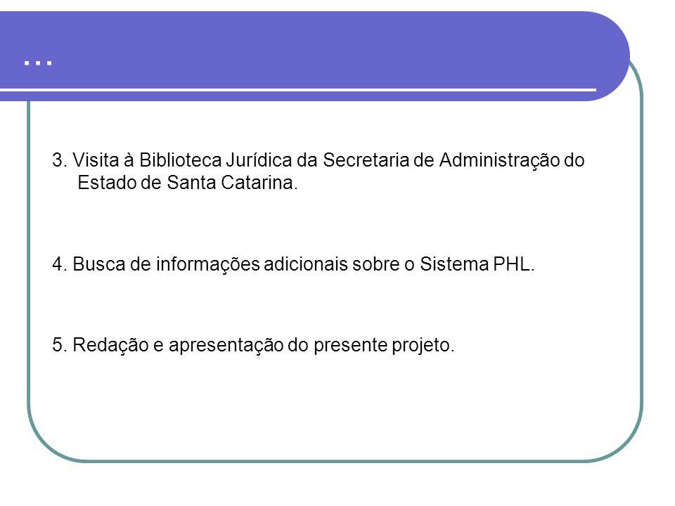 ... 3. Visita à Biblioteca Jurídica da Secretaria de Administração do Estado de Santa Catarina. 4. Busca de informações adicionais sobre o Sistema PHL