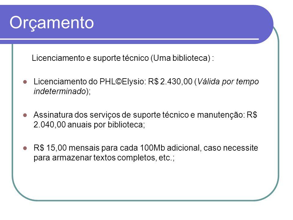 Orçamento Licenciamento e suporte técnico (Uma biblioteca) : Licenciamento do PHL©Elysio: R$ 2.430,00 (Válida por tempo indeterminado); Assinatura dos
