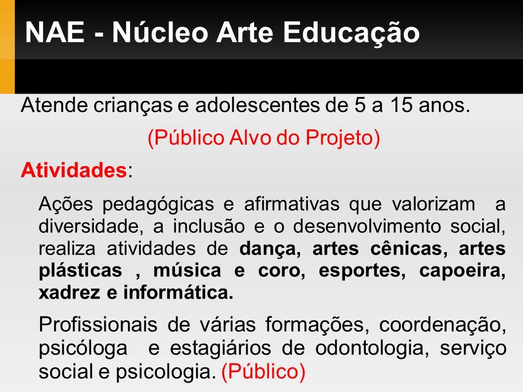 NAE - Núcleo Arte Educação Atende crianças e adolescentes de 5 a 15 anos. (Público Alvo do Projeto) Atividades: Ações pedagógicas e afirmativas que va
