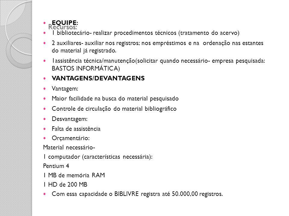 Recursos: EQUIPE: 1 bibliotecário- realizar procedimentos técnicos (tratamento do acervo) 2 auxiliares- auxiliar nos registros; nos empréstimos e na o