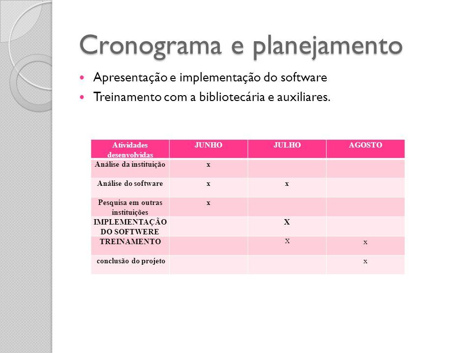 Cronograma e planejamento Apresentação e implementação do software Treinamento com a bibliotecária e auxiliares. Atividades desenvolvidas JUNHOJULHOAG