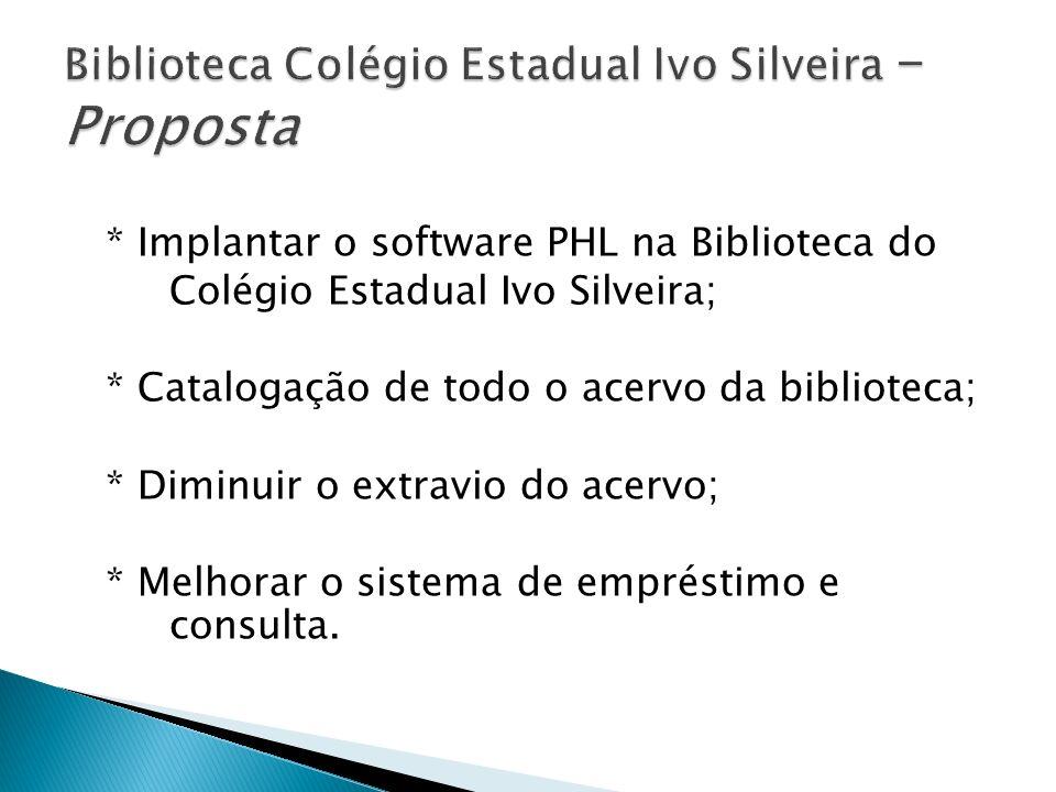 * Implantar o software PHL na Biblioteca do Colégio Estadual Ivo Silveira; * Catalogação de todo o acervo da biblioteca; * Diminuir o extravio do acer