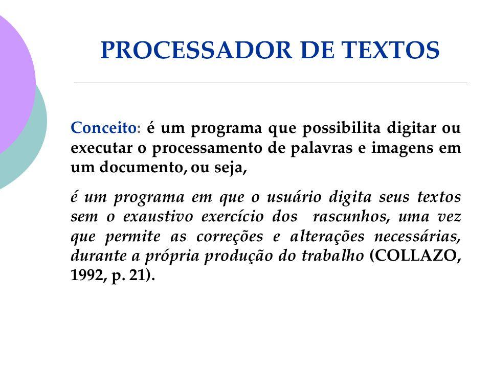 Conceito: é um programa que possibilita digitar ou executar o processamento de palavras e imagens em um documento, ou seja, é um programa em que o usu