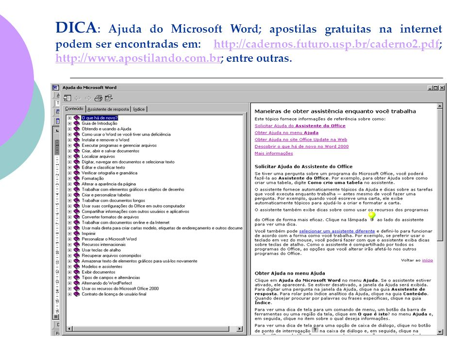 DICA : Ajuda do Microsoft Word; apostilas gratuitas na internet podem ser encontradas em: http://cadernos.futuro.usp.br/caderno2.pdf; http://www.apost