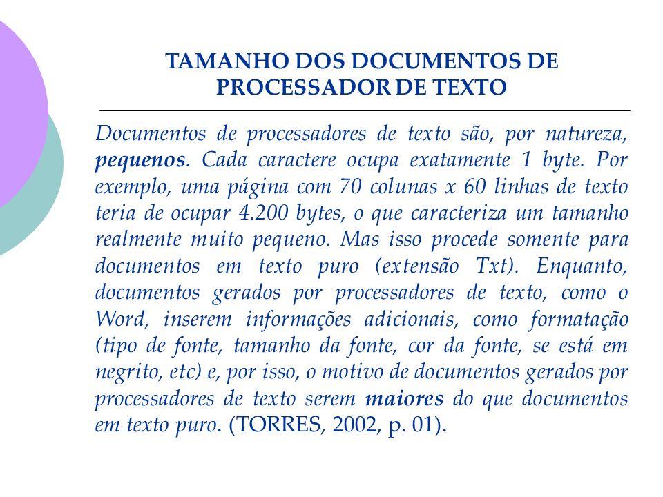 Documentos de processadores de texto são, por natureza, pequenos. Cada caractere ocupa exatamente 1 byte. Por exemplo, uma página com 70 colunas x 60