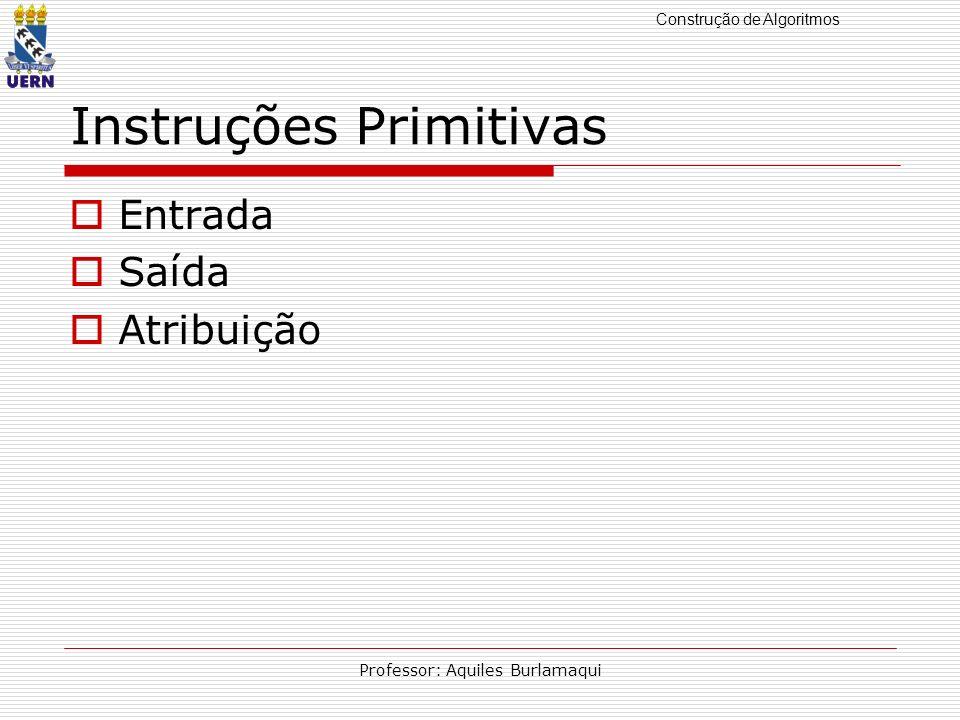 Construção de Algoritmos Professor: Aquiles Burlamaqui Instruções Primitivas Entrada Saída Atribuição