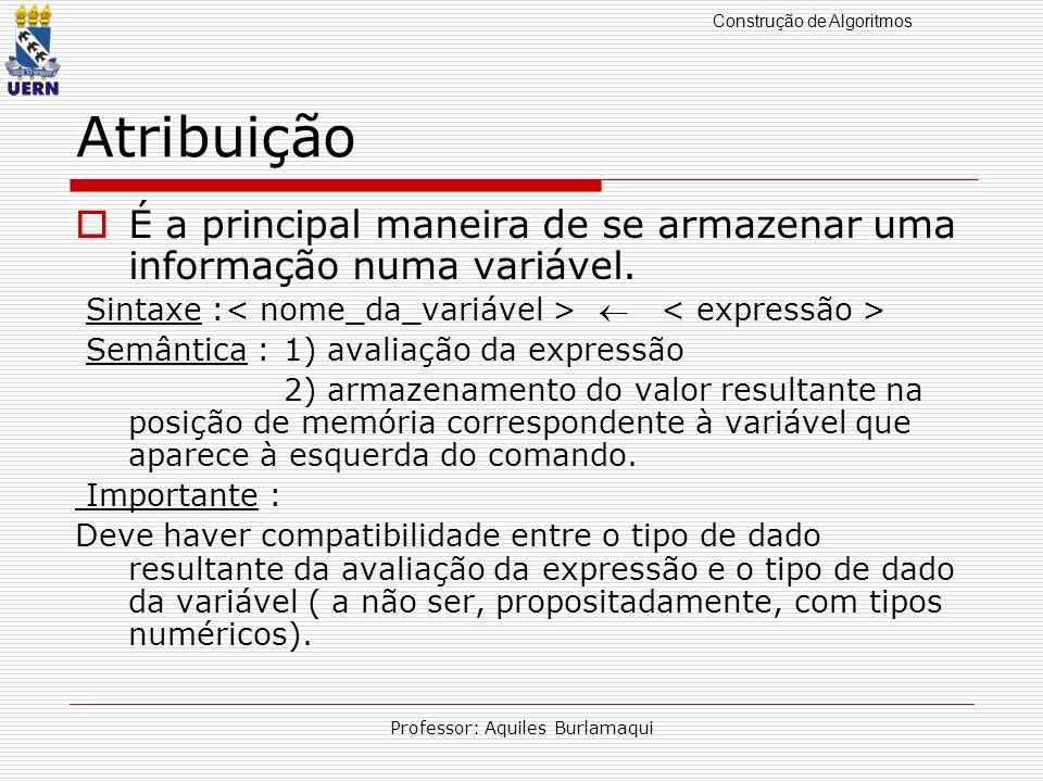 Construção de Algoritmos Professor: Aquiles Burlamaqui Atribuição É a principal maneira de se armazenar uma informação numa variável. Sintaxe : Semânt