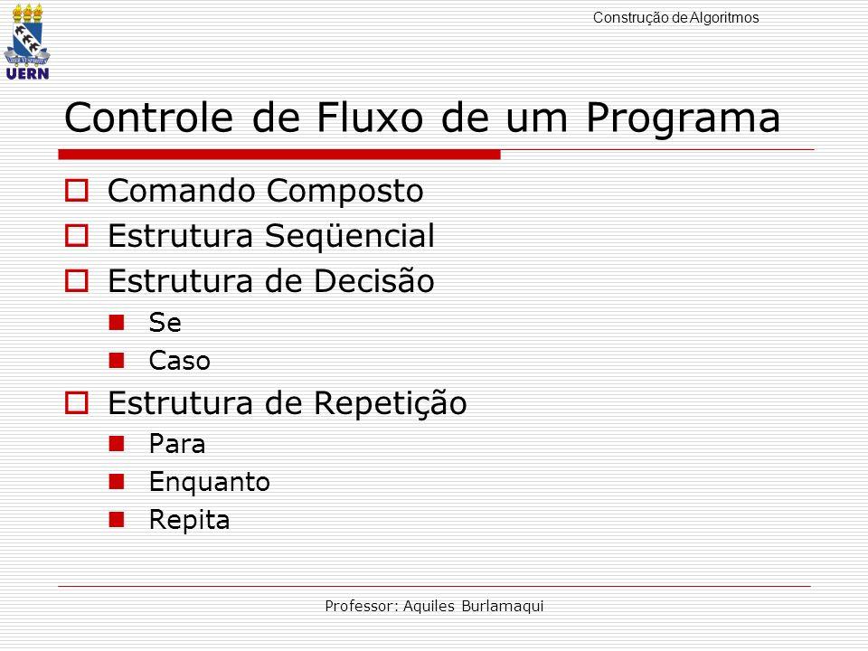 Construção de Algoritmos Professor: Aquiles Burlamaqui Controle de Fluxo de um Programa Comando Composto Estrutura Seqüencial Estrutura de Decisão Se