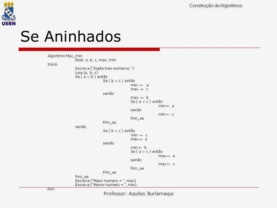 Construção de Algoritmos Professor: Aquiles Burlamaqui Se Aninhados Algoritmo Max_min Real: a, b, c, max, min Início Escreva (Digite tres numeros: ) L