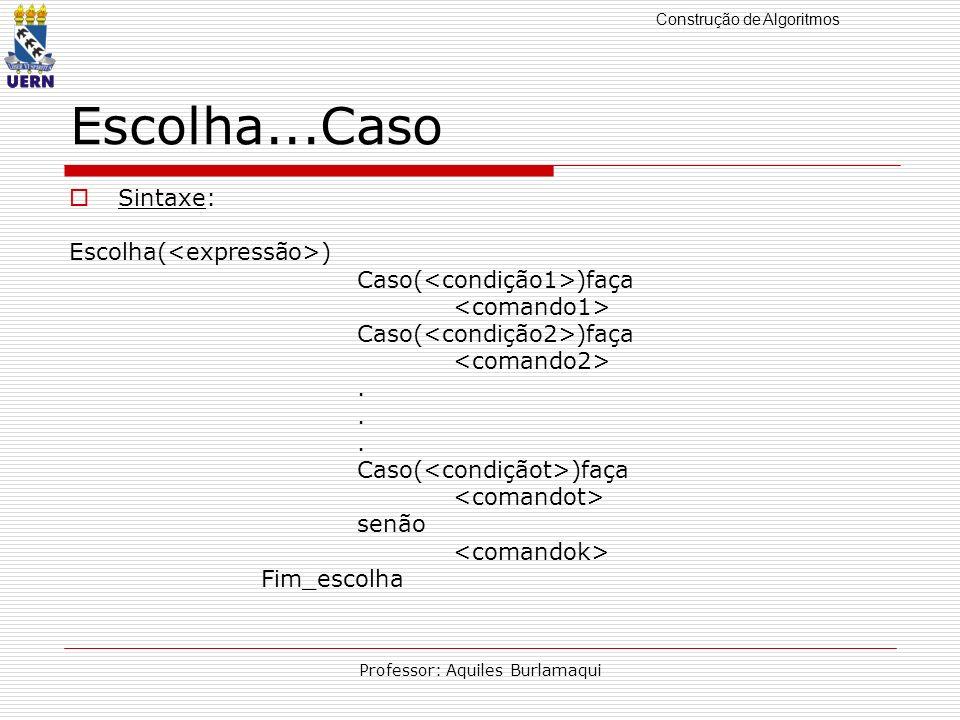 Construção de Algoritmos Professor: Aquiles Burlamaqui Escolha...Caso Sintaxe: Escolha( ) Caso( )faça Caso( )faça. Caso( )faça senão Fim_escolha