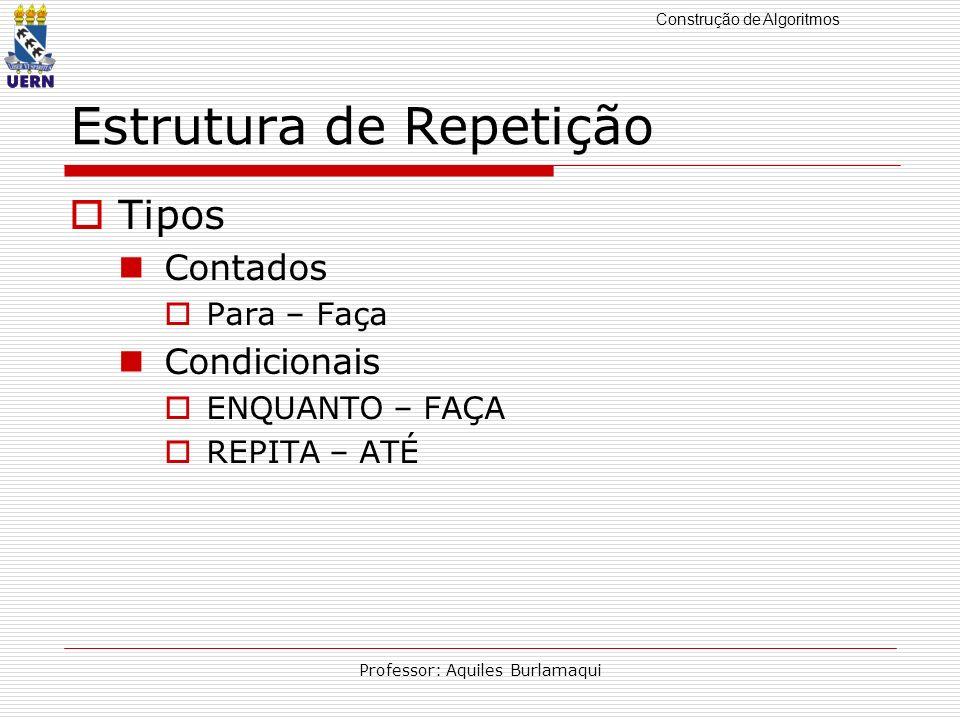 Construção de Algoritmos Professor: Aquiles Burlamaqui Estrutura de Repetição Tipos Contados Para – Faça Condicionais ENQUANTO – FAÇA REPITA – ATÉ