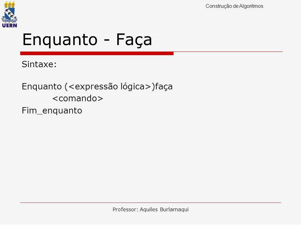 Construção de Algoritmos Professor: Aquiles Burlamaqui Enquanto - Faça Sintaxe: Enquanto ( )faça Fim_enquanto