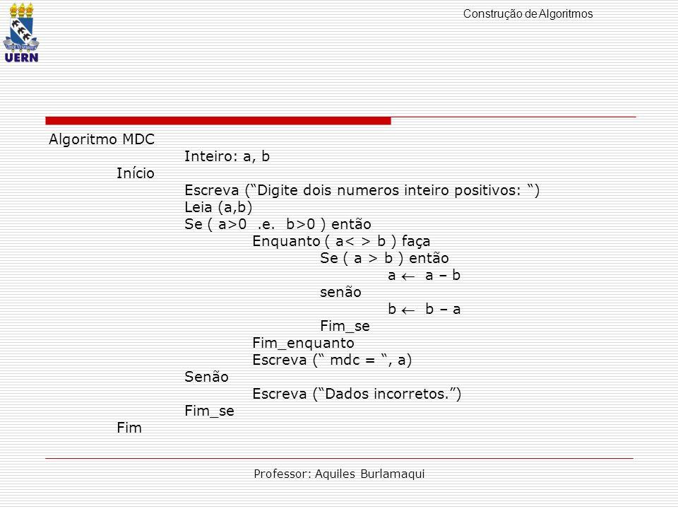 Construção de Algoritmos Professor: Aquiles Burlamaqui Algoritmo MDC Inteiro: a, b Início Escreva (Digite dois numeros inteiro positivos: ) Leia (a,b)