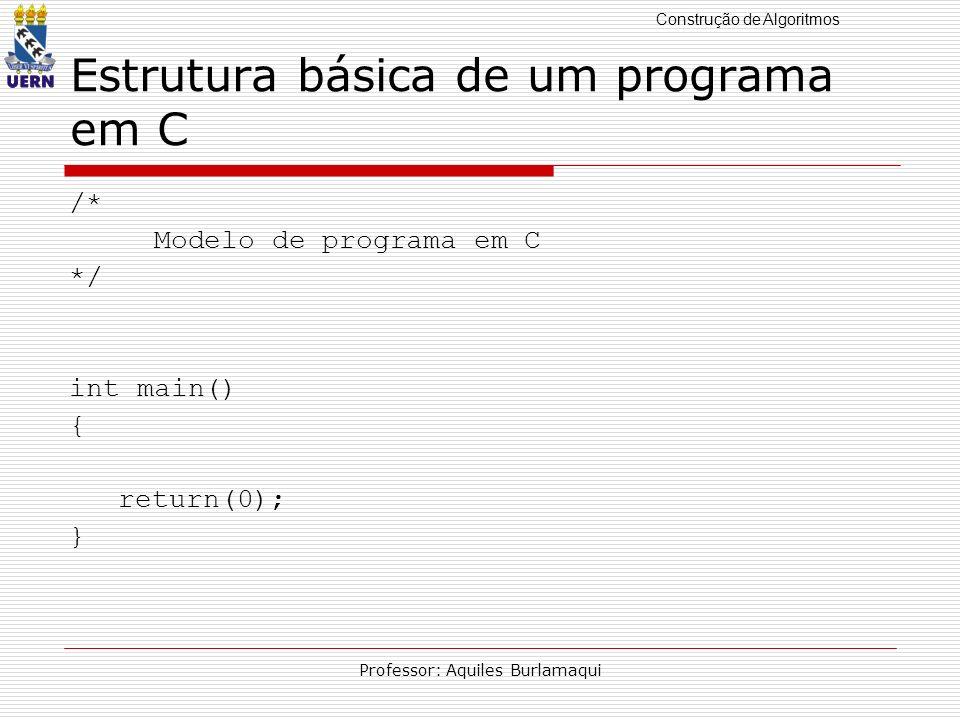 Construção de Algoritmos Professor: Aquiles Burlamaqui Estrutura básica de um programa em C /* Modelo de programa em C */ int main() { return(0); }