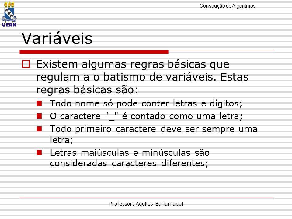 Construção de Algoritmos Professor: Aquiles Burlamaqui Variáveis Existem algumas regras básicas que regulam a o batismo de variáveis. Estas regras bás