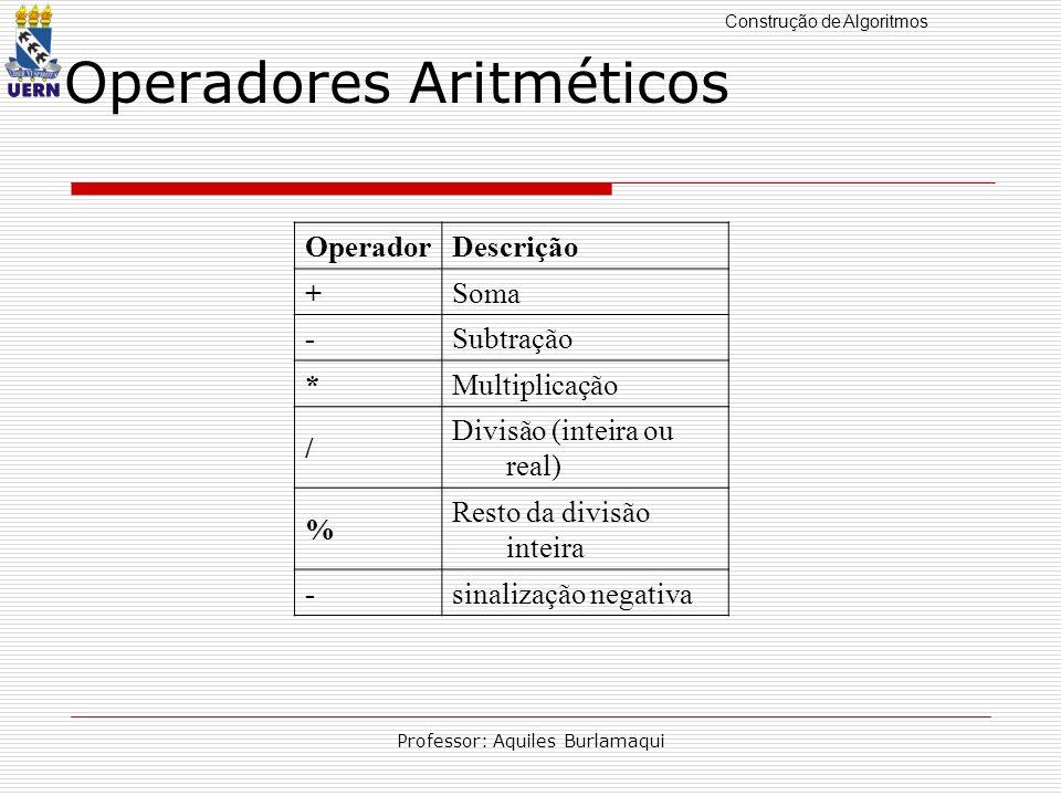 Construção de Algoritmos Professor: Aquiles Burlamaqui OperadorDescrição +Soma -Subtração *Multiplicação / Divisão (inteira ou real) % Resto da divisã