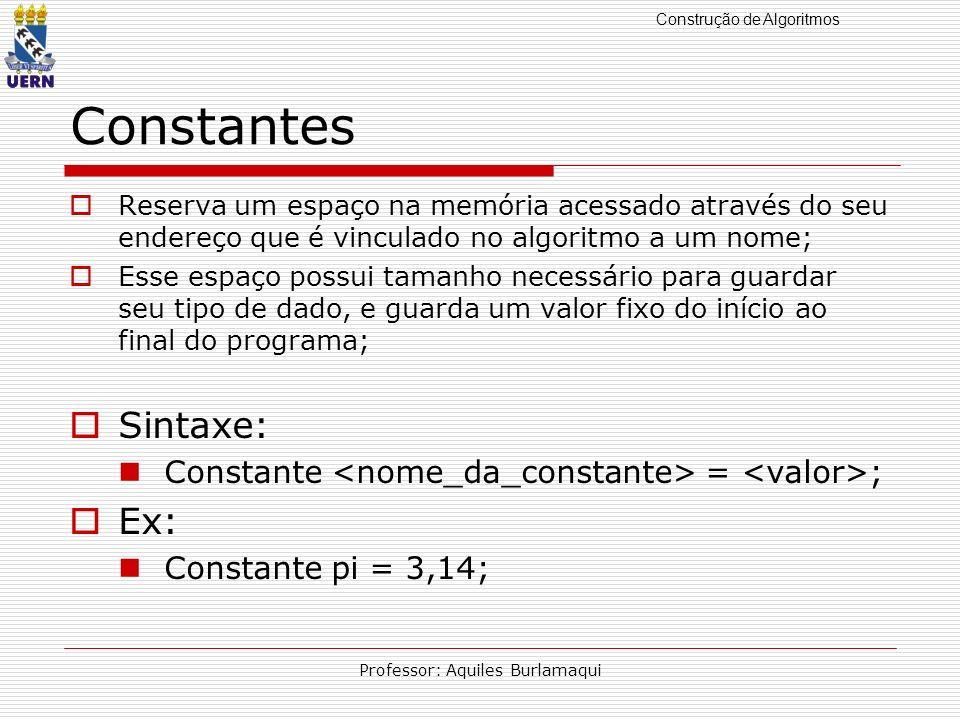 Construção de Algoritmos Professor: Aquiles Burlamaqui Constantes Reserva um espaço na memória acessado através do seu endereço que é vinculado no alg