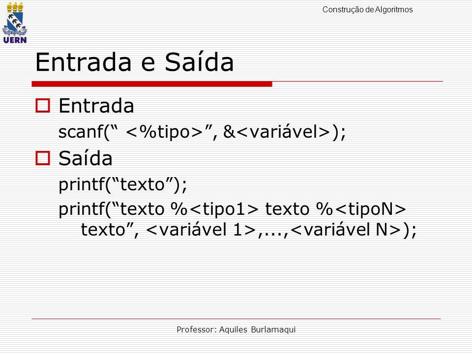 Construção de Algoritmos Professor: Aquiles Burlamaqui Entrada e Saída Entrada scanf(, & ); Saída printf(texto); printf(texto % texto % texto,,..., );