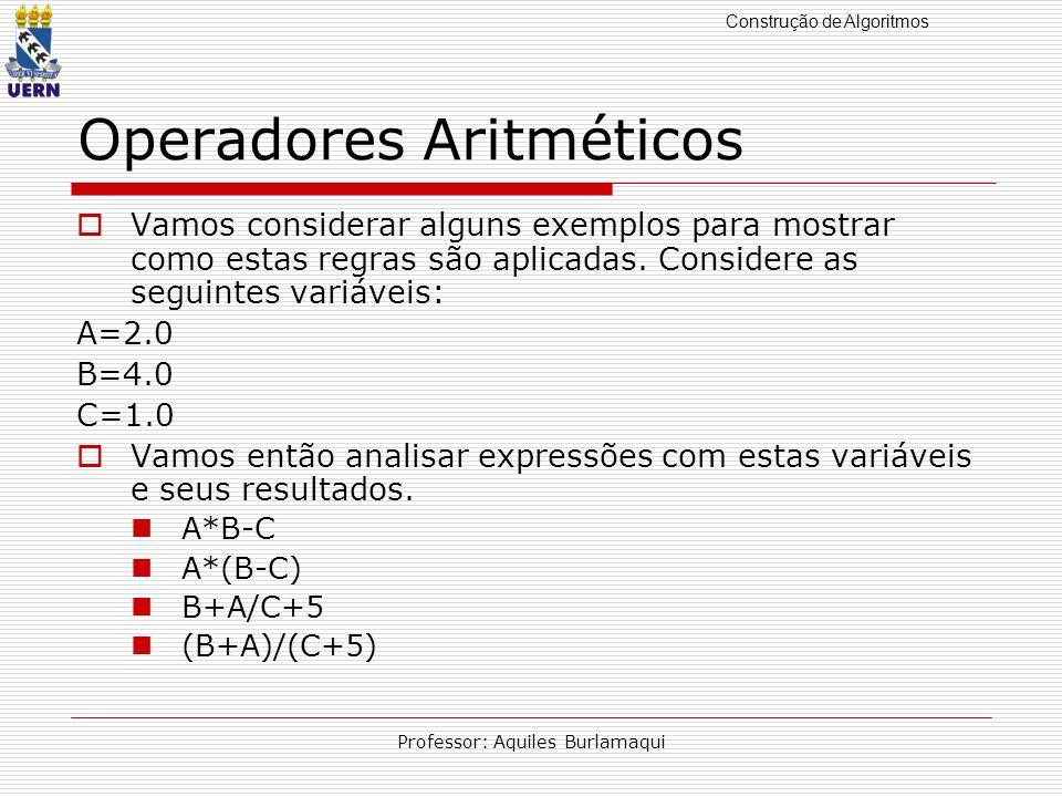 Construção de Algoritmos Professor: Aquiles Burlamaqui Operadores Aritméticos Vamos considerar alguns exemplos para mostrar como estas regras são apli