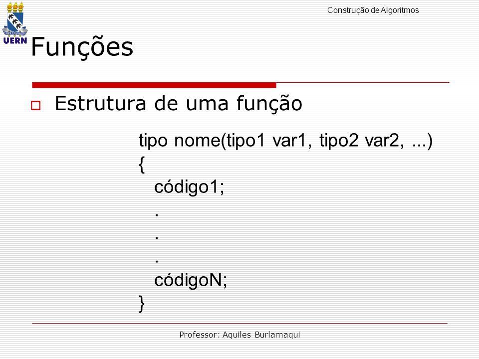 Construção de Algoritmos Professor: Aquiles Burlamaqui Funções Estrutura de uma função tipo nome(tipo1 var1, tipo2 var2,...) { código1;. códigoN; }