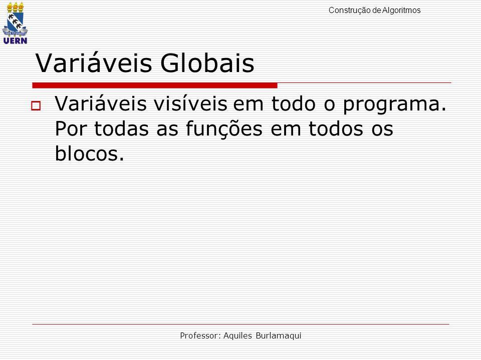Construção de Algoritmos Professor: Aquiles Burlamaqui Variáveis Globais Variáveis visíveis em todo o programa. Por todas as funções em todos os bloco