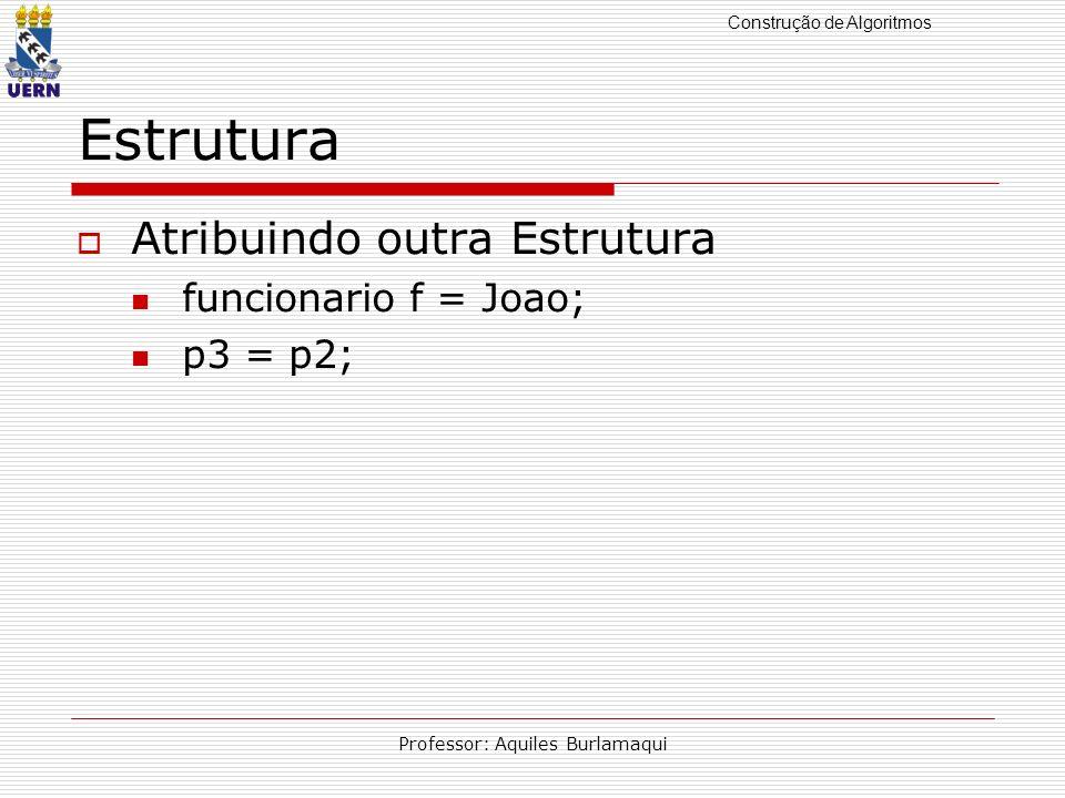 Construção de Algoritmos Professor: Aquiles Burlamaqui Estrutura Inicialização de Estruturas struct ponto origem = {0,0}; struct ponto trapezio[] = { { 5,5}, {5, 10}, {10,5}, {10,13} };