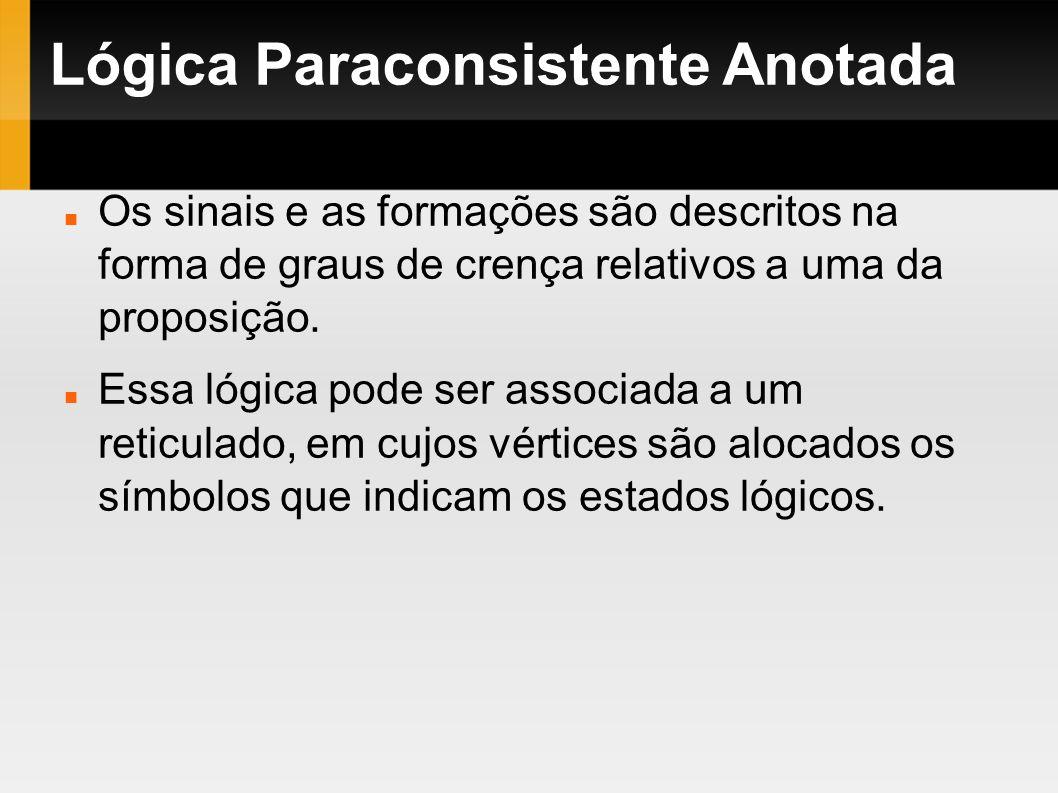 Lógica Paraconsistente Anotada Os sinais e as formações são descritos na forma de graus de crença relativos a uma da proposição. Essa lógica pode ser